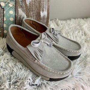 Gray suede wedge loafers. NEW